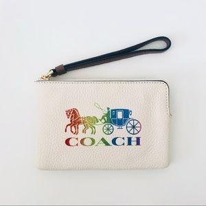Coach Rainbow Horse Carriage White Wristlet
